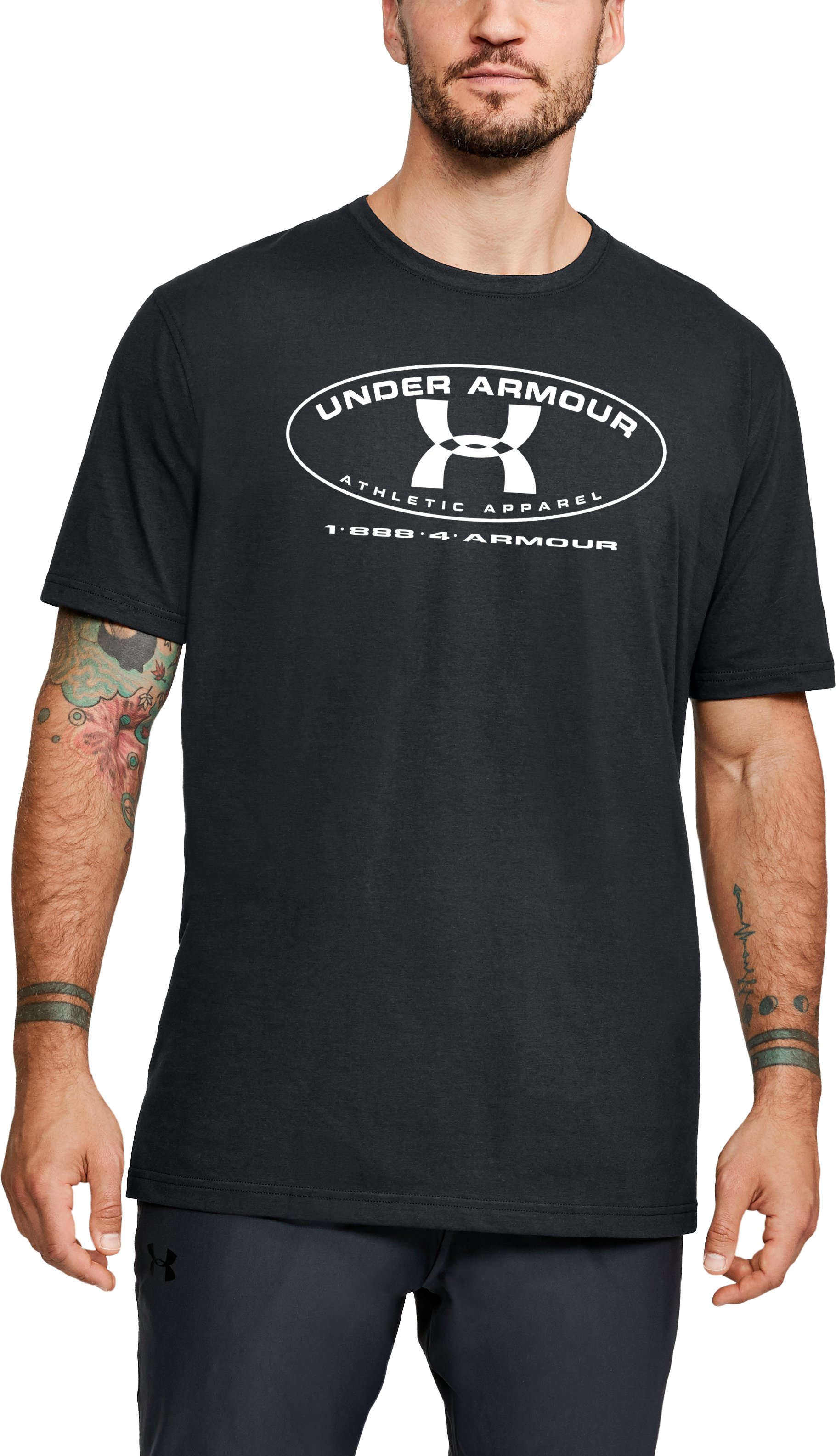 Men's UA Armour Label Short Sleeve, Black , zoomed
