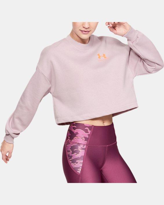 Women's UA Rival Fleece Graphic LC Crew, Pink, pdpMainDesktop image number 0