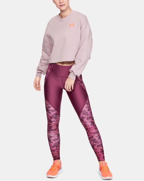 Women's UA Rival Fleece Graphic LC Crew, Pink, pdpMainDesktop image number 1