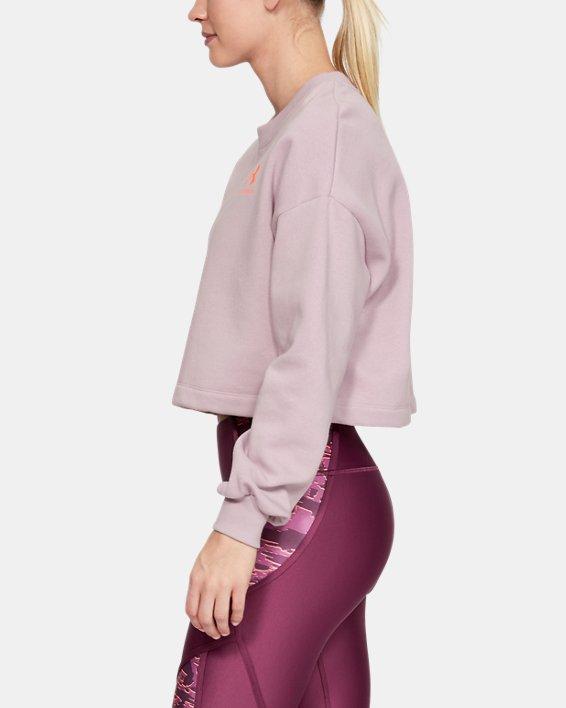 Women's UA Rival Fleece Graphic LC Crew, Pink, pdpMainDesktop image number 3