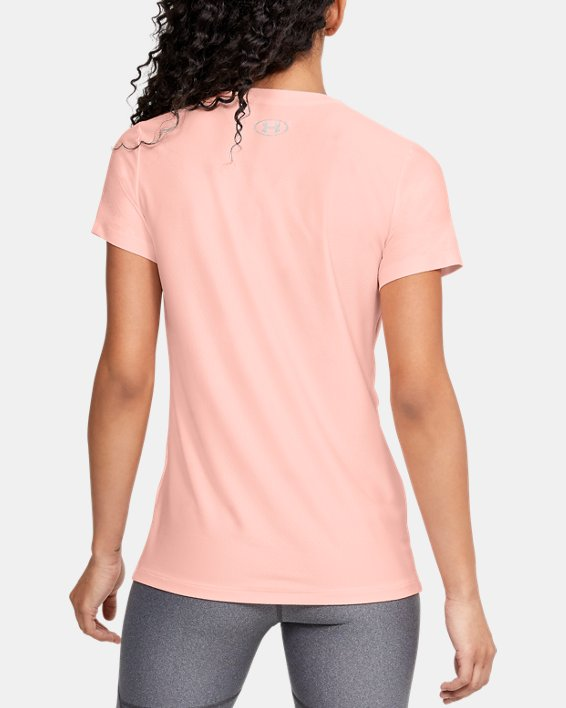 Women's UA Tech™ Short Sleeve V-Neck Novelty, Orange, pdpMainDesktop image number 2