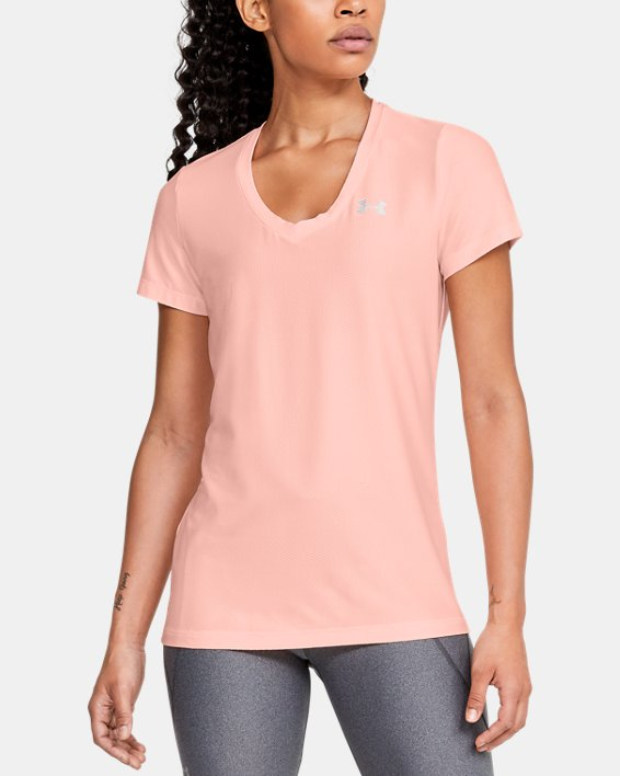 Women's UA Tech™ Short Sleeve V-Neck Novelty, Orange, pdpMainDesktop image number 0
