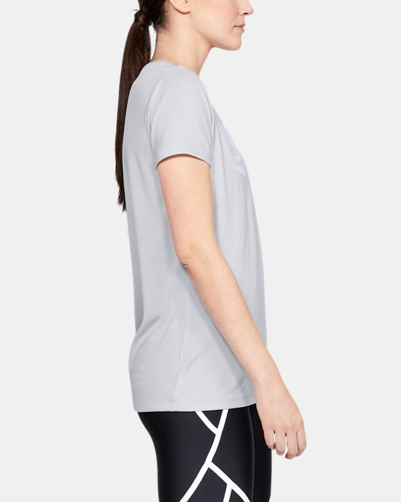 Women's UA Tech™ Short Sleeve Graphic, Gray, pdpMainDesktop image number 3