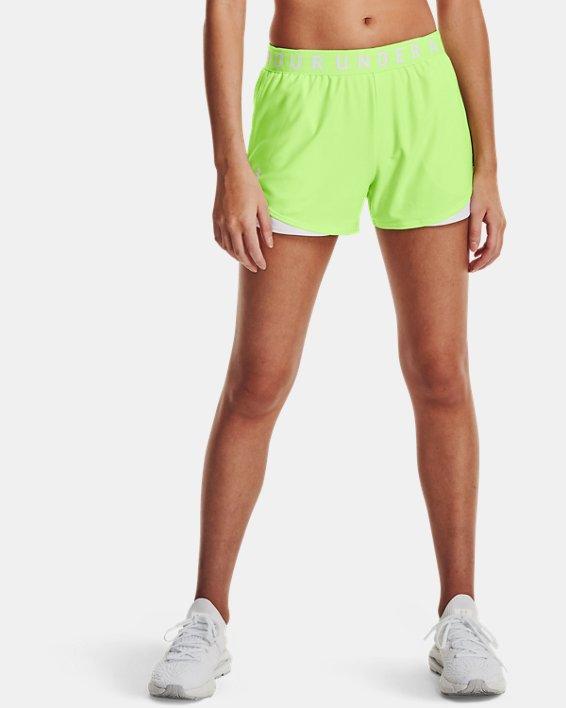 Women's UA Play Up Shorts 3.0, Green, pdpMainDesktop image number 0