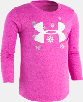 New Arrival Girls Pre-School UA Big Logo Snowflake Long Sleeve Shirt   $25