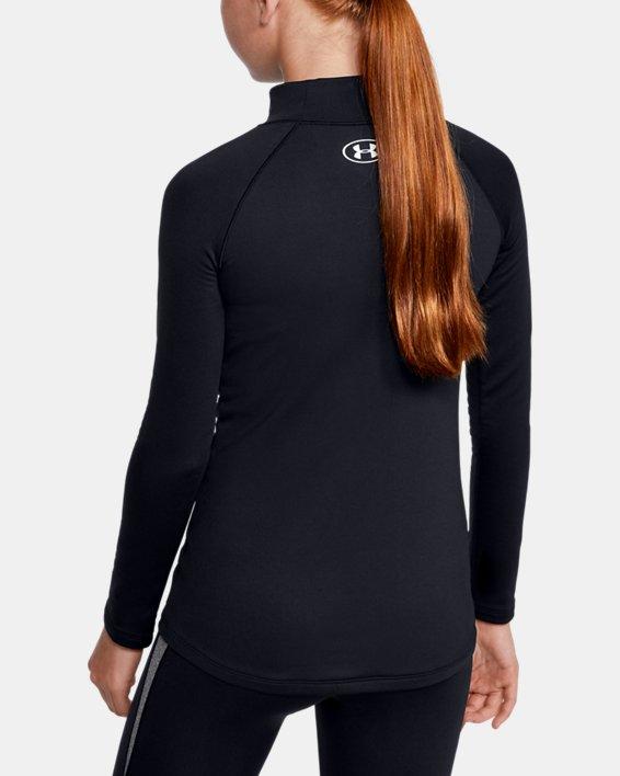 Girls' ColdGear® Long Sleeve Mock, Black, pdpMainDesktop image number 2
