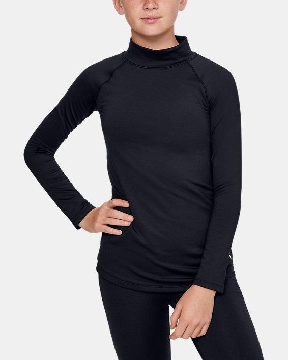 Girls' ColdGear® Long Sleeve Mock, Black, pdpMainDesktop image number 0