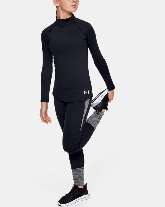 Girls' ColdGear® Long Sleeve Mock, Black, pdpMainDesktop image number 1