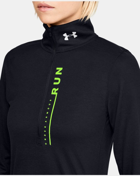 Women's UA Streaker Sweep ½ Zip, Black, pdpMainDesktop image number 5