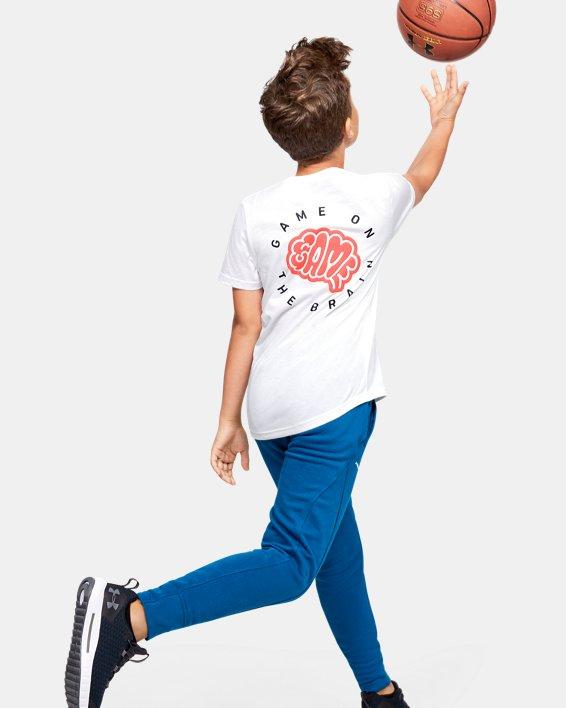 Boys' UA Game on the Brain Short Sleeve, White, pdpMainDesktop image number 0
