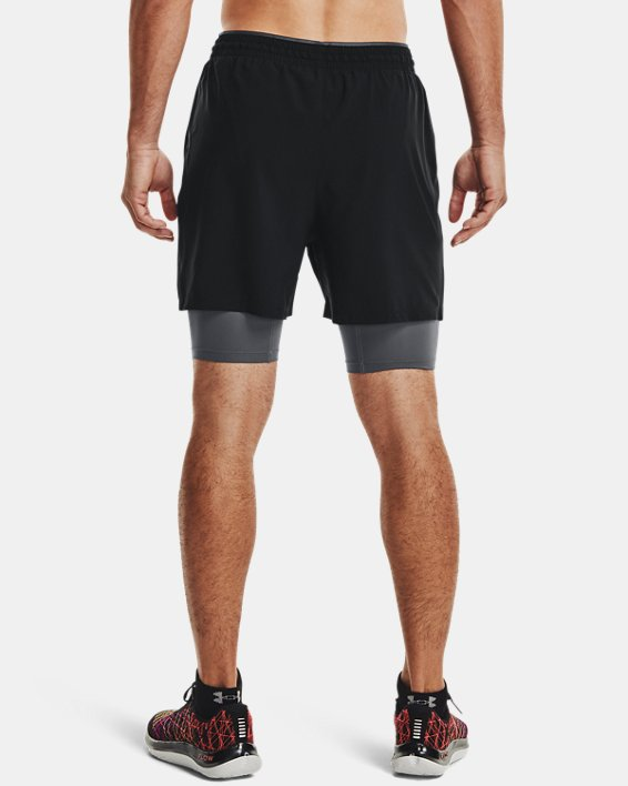 Short UA Qualifier 2-in-1 pour homme, Black, pdpMainDesktop image number 2