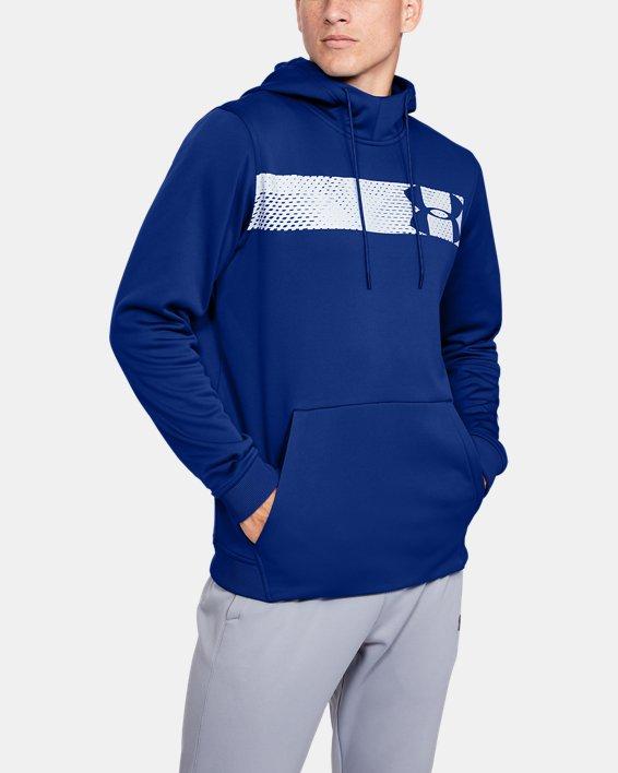 Men's Armour Fleece® Bar Logo Graphic Hoodie, Blue, pdpMainDesktop image number 0