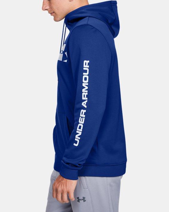 Men's Armour Fleece® Bar Logo Graphic Hoodie, Blue, pdpMainDesktop image number 3