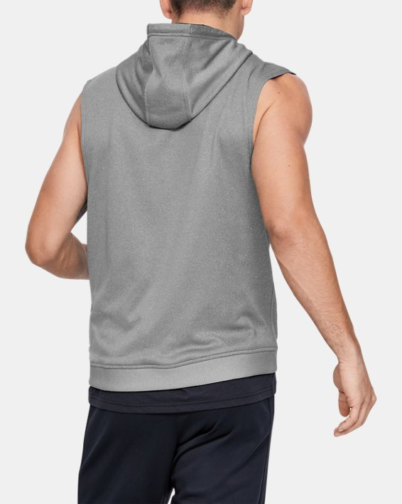 Men's Armour Fleece® Graphic Sleeveless Hoodie, Gray, pdpMainDesktop image number 2