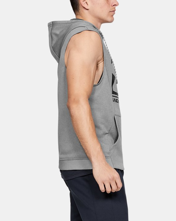 Men's Armour Fleece® Graphic Sleeveless Hoodie, Gray, pdpMainDesktop image number 3