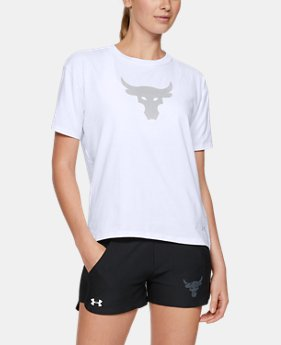 New Arrival Women's UA x Project Rock Bull Graphic Girlfriend Crew Shirt  2  Colors Available $35