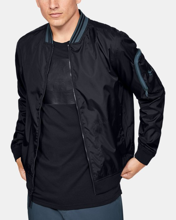 Men's UA Unstoppable Woven Bomber Jacket, Black, pdpMainDesktop image number 0