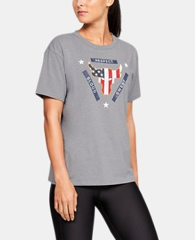 New Arrival Women's UA x Project Rock Veterans Day Stars Stripes Bull Graphic Girlfriend Crew  1  Color Available $35