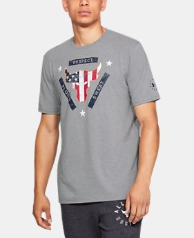 New Arrival Men's UA x Project Rock USDNA Flag T-Shirt   1  Color Available $35