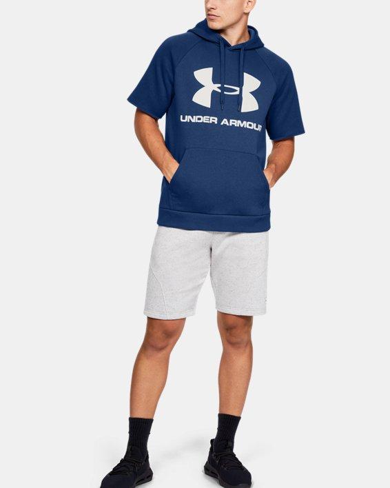 Men's UA Rival Fleece Logo Short Sleeve Hoodie, Blue, pdpMainDesktop image number 1