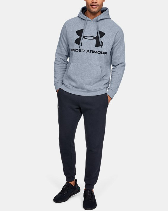 Men's UA Rival Fleece Logo Hoodie, Gray, pdpMainDesktop image number 1