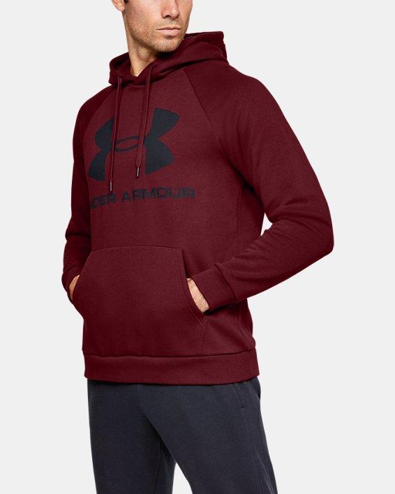 Men's UA Rival Fleece Logo Hoodie, Red, pdpMainDesktop image number 0