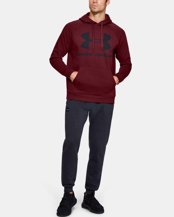 Men's UA Rival Fleece Logo Hoodie, Red, pdpMainDesktop image number 1