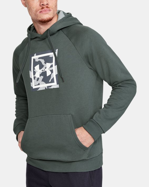Men's UA Rival Fleece Printed Hoodie, Gray, pdpMainDesktop image number 0