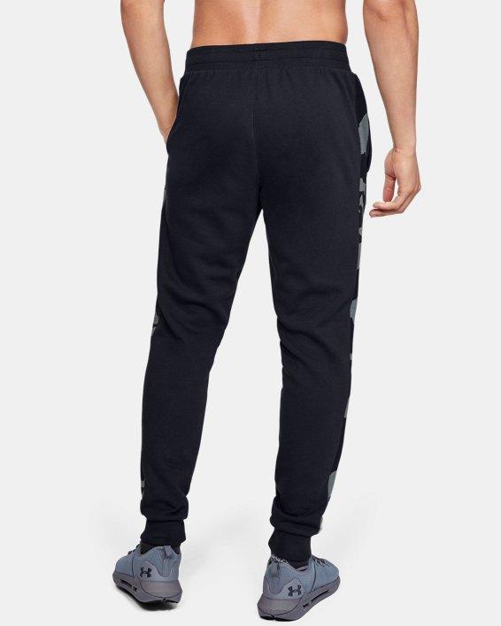 Men's UA Rival Fleece Printed Joggers, Black, pdpMainDesktop image number 2