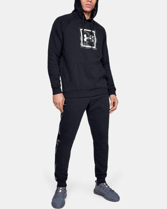 Men's UA Rival Fleece Printed Joggers, Black, pdpMainDesktop image number 0