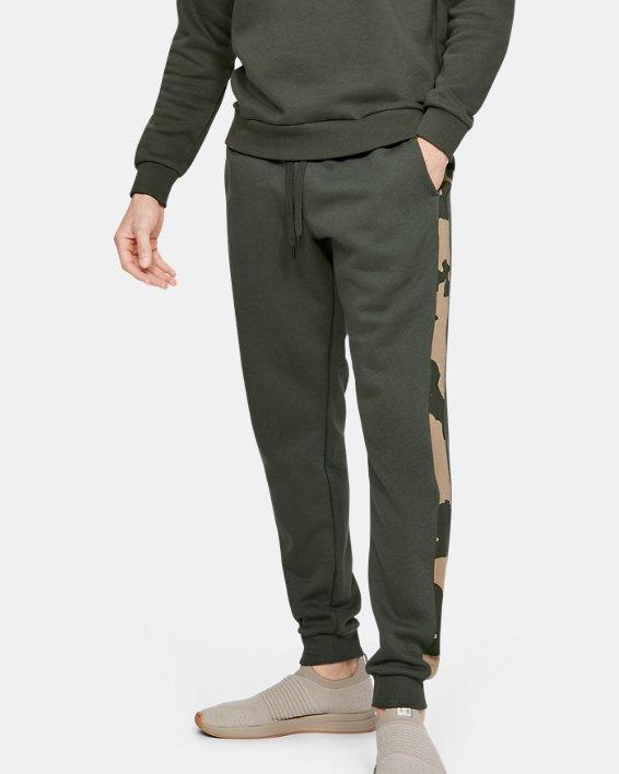Men's UA Rival Fleece Printed Joggers, Green, pdpMainDesktop image number 1