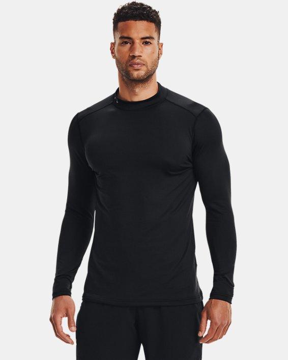 Men's ColdGear® Armour Fitted Mock Long Sleeve, Black, pdpMainDesktop image number 1