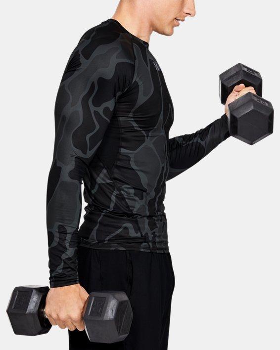 Men's HeatGear® Armour Long Sleeve Shirt, Black, pdpMainDesktop image number 3
