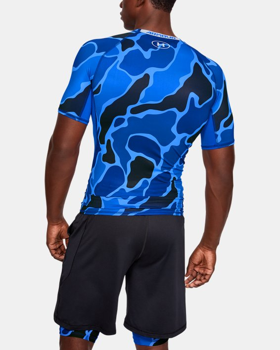 Men's HeatGear® Armour Short Sleeve, Blue, pdpMainDesktop image number 2