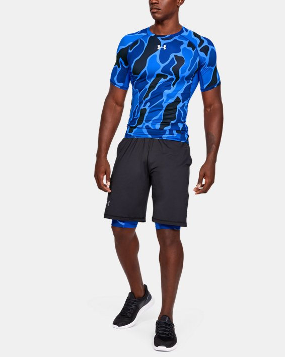 Men's HeatGear® Armour Short Sleeve, Blue, pdpMainDesktop image number 1