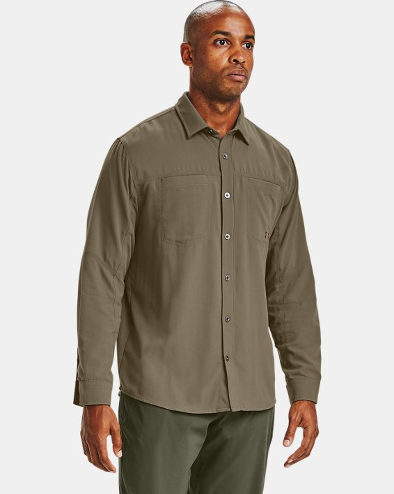 Men's UA Payload Button Down Shirt, Brown, pdpMainDesktop image number 1