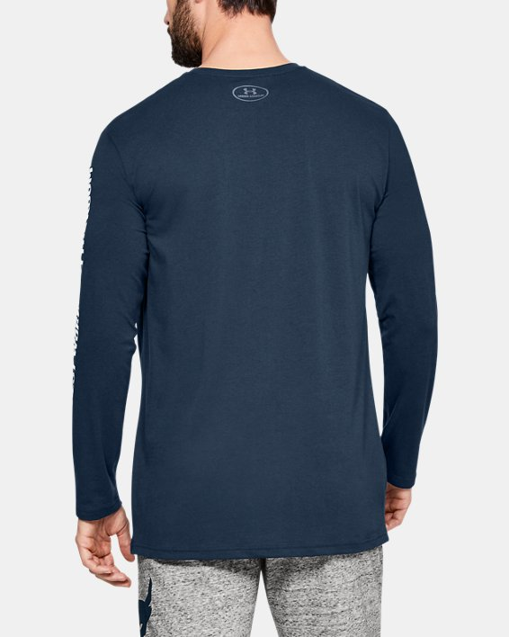 Men's Project Rock Hardest Worker Long Sleeve Shirt, Navy, pdpMainDesktop image number 2