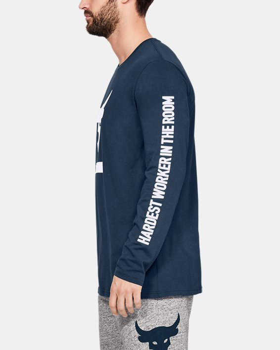 Men's Project Rock Hardest Worker Long Sleeve Shirt, Navy, pdpMainDesktop image number 3