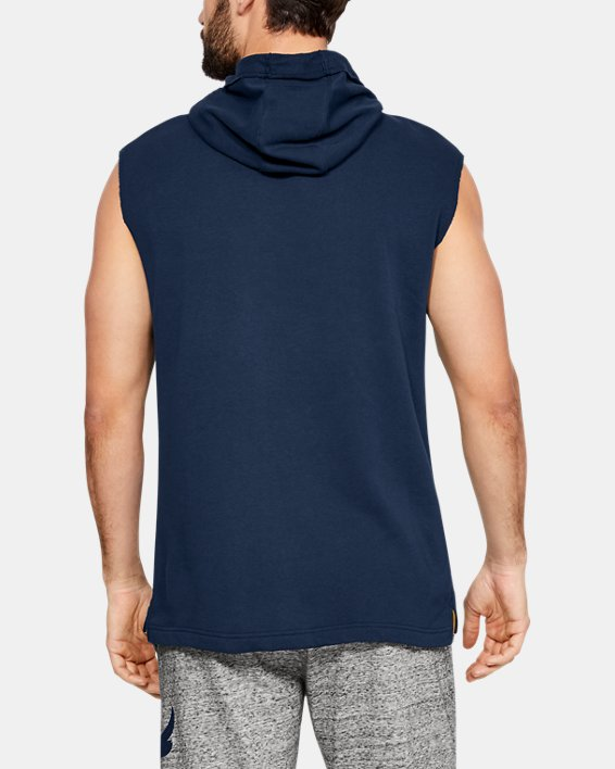 Men's Project Rock Terry Sleeveless Hoodie, Navy, pdpMainDesktop image number 2