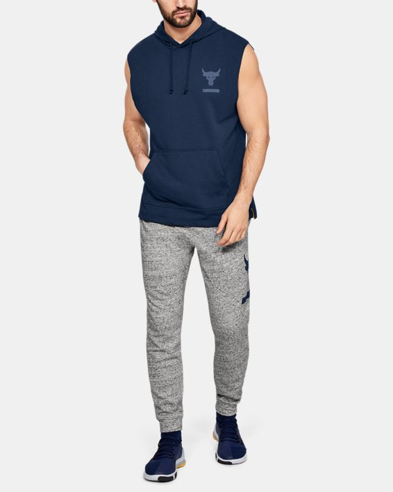 Men's Project Rock Terry Sleeveless Hoodie, Navy, pdpMainDesktop image number 1