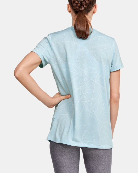 Women's UA Tech™ Defense Jacquard V-Neck Short Sleeve, Blue, pdpMainDesktop image number 2
