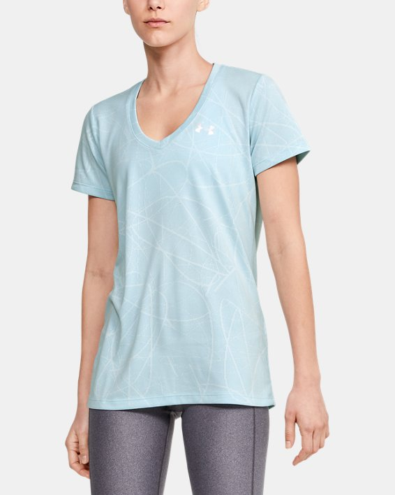 Women's UA Tech™ Defense Jacquard V-Neck Short Sleeve, Blue, pdpMainDesktop image number 0