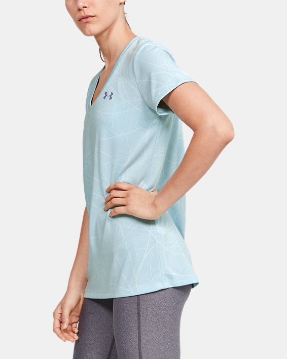 Women's UA Tech™ Defense Jacquard V-Neck Short Sleeve, Blue, pdpMainDesktop image number 3