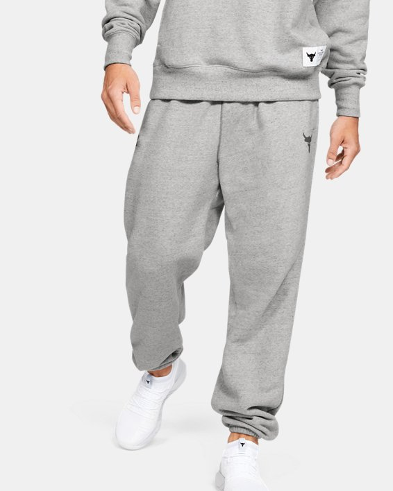 Men's Project Rock Warm-Up Pants, Gray, pdpMainDesktop image number 0