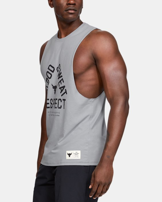 Men's Project Rock Blood Sweat Respect Tank, Gray, pdpMainDesktop image number 3