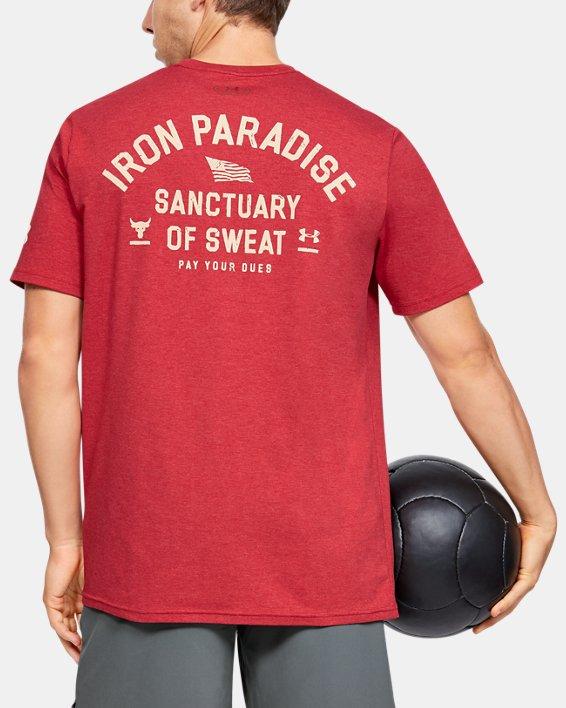 Men's Project Rock Iron Paradise Short Sleeve, Red, pdpMainDesktop image number 0