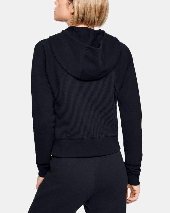 Women's UA Microthread Fleece Graphic Full Zip Hoodie, Black, pdpMainDesktop image number 3