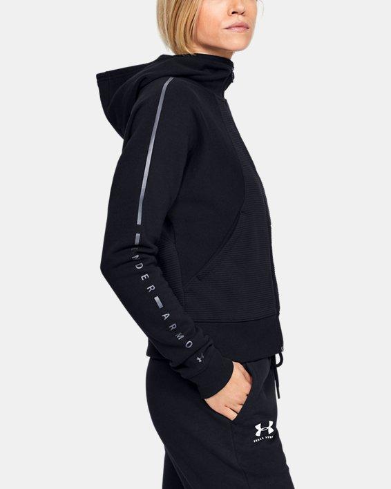 Women's UA Microthread Fleece Graphic Full Zip Hoodie, Black, pdpMainDesktop image number 0