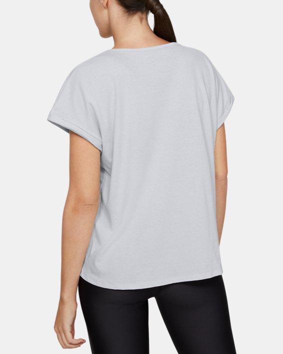 Women's UA Graphic Fashion Circular Wordmark Short Sleeve, Gray, pdpMainDesktop image number 2