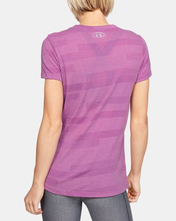 Women's UA Velocity Jacquard V-Neck, Purple, pdpMainDesktop image number 2